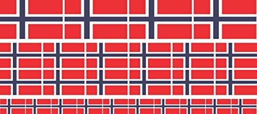 Mini Aufkleber Set - Pack glatt - 4x 51x31mm+ 12x 33x20mm + 10x 20x12mm- Sticker - Norwegen - Flagge - Banner - Standarte fürs Auto, Büro, zu Hause & die Schule - Set of 26