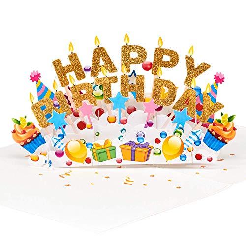 Schöner Geburtstag - Handgemachte 3D Pop Up Grußkarte, Birthday Pop Up Card, Recyclingpapier, Lasergravur, Einzigartiges Design Für Geburtstag, Muttertag, Hochzeit, Jubiläum, Liebe