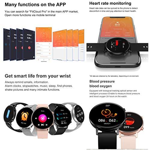Aliwisdom Smartwatch für Herren Damen Kinder, 1,3 Zoll HD Rund Smartwatch Fitness Uhr Wasserdicht Sport Armbanduhr Fitness Tracker Metallarmband für iOS Android, Mit Whatsapp Funktion (Schwarz)