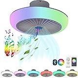 VOMI Ventilador de techo con luz y Mando a Distancia/App, Moderno LED Silencio Regulable RGB Música Lámpara de ventilador Con Altavoz Bluetooth, Velocidad del viento ajustable Smart Plafon Iluminación