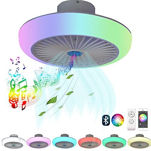 LED Ventilador de techo con Luz y Mando a Distancia Silencioso Regulable RGB Música Ventilador de techo Lámpara con Altavoz Bluetooth Velocidad del Viento Ajustable Invisible Ventiladores Iluminación