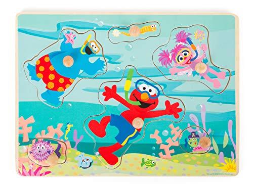 Small Foot - Sesamstrasse sous-Marin, Puzzle en Bois pour Les Enfants à partir de 1 an Jouets, 10977, Multicolore - Version Allemande