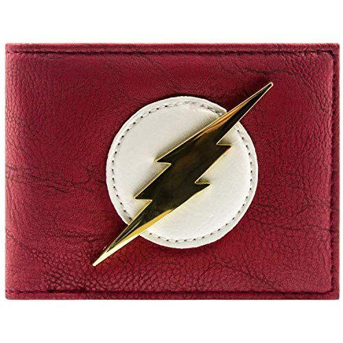 Cartera de DC Comics Flash Insignia de Oro Brillante Rojo