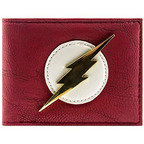 DC Comics Flash Shiny Gold Badge Red ID & Card Bi-Fold Wallet