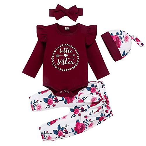 Baby Girl Clothes Newborn Outfits Infant Tops + Pants + Headband or Hats Wine red 0-3 Months 70cm