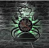 Reloj de pared de vinilo con grabador de vinilo para pared, cuchara y cuchillo, reloj creativo de cuarzo montado en la cocina, restaurante casero, decoración murale