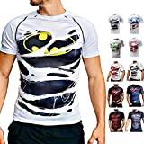 Khroom T-shirt de compression pour homme à manches courtes respirant au design héros | T-shirt de compression fonctionnel pour fitness, gym, jogging (Batman Blanc, M)