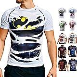 Khroom T-Shirt de Compression de Super-héros pour Homme | Vêtement Sportif à Séchage Rapide pour Fitness, Gym, Course, Musculation | Matériel Extensible et Ventilé Anti Transpiration Batman Blanc XXL
