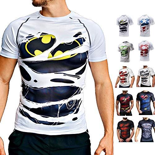 Khroom Sport Maglietta a Compressione Uomo a Tema Super Eroi | Maglia Sportiva Elasticizzata a Maniche Corte | T-Shirt Slim Fit Uomo con Protezione UV per Fitness, Corsa, Palestra (Batman Bianco, L)
