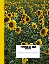 Composition Book Sunflowers: College Ruled, 110 pages, Pretty Sunflower Field Floral Flower Design Composition Notebook