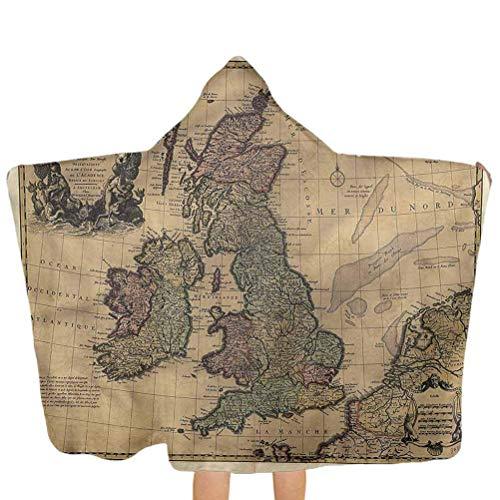ZHSL Toalla de baño con capucha para bebés Wanderlust, Islas Británicas Inglaterra Toalla de playa Albornoz Multiuso para baño/ducha/piscina 51.5x31.8 pulgadas