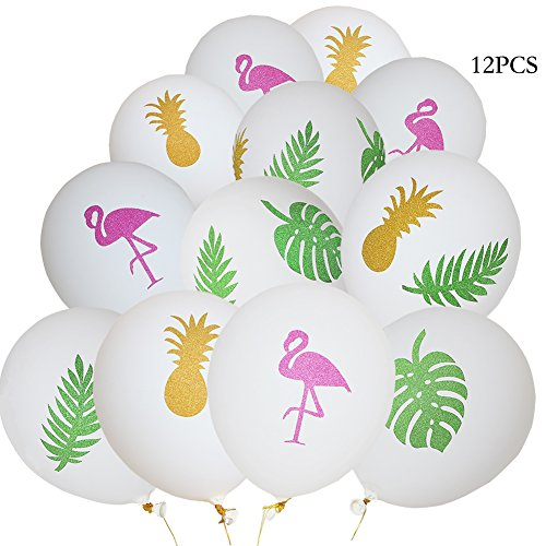 """Flamingo balloons,12""""Latex White balloons,Pineapple Leaf decorations balloons for Party Favors Supplies (12 Pack)"""