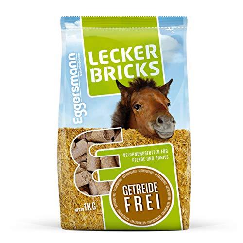 Eggersmann Lecker Bricks Getreidefrei – Pferdeleckerlis ohne Getreide – Getreidefreie Leckerlis für Pferde – 1 kg Beutel