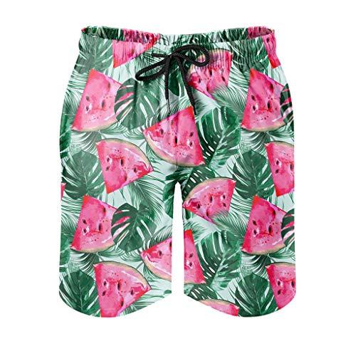kikomia Bañador para hombre con estampado de sandía tropical y hojas de palma, pantalones cortos de verano para hombre, con bolsillos y forro de malla, color blanco, XL