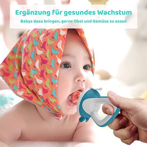 CalMyotis Fruchtsauger Baby, 2 Stück Kleinkind Fruchtsauger Schnuller Beißring für Obst Gemüse Brei, BPA frei, 6 Silikon Sauger in 3 Größen (Blau + Grün) - 2
