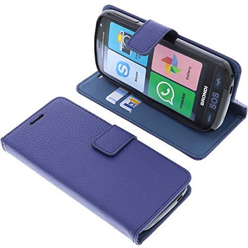 foto-kontor Custodia a Libro per Brondi Amico Smartphone (Non per Amico Smartphone 4G) di Colore Blu Azzurro