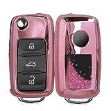 kwmobile Autoschlüssel Hülle kompatibel mit VW Skoda Seat 3-Tasten Autoschlüssel - TPU Schutzhülle Schlüsselhülle Cover Schneekugel Sterne Pink Metallic Pink