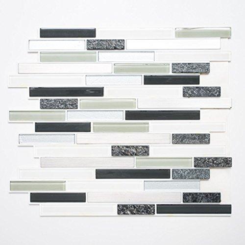 Mosaik Fliese selbstklebend Transluzent Stein Edelstahl grau Verbund Glasmosaik Crystal Stein Stahl grau fertig für BODEN WAND KÜCHE FLIESENSPIEGEL THEKENVERKLEIDUNG Mosaikmatte Mosaikplatte