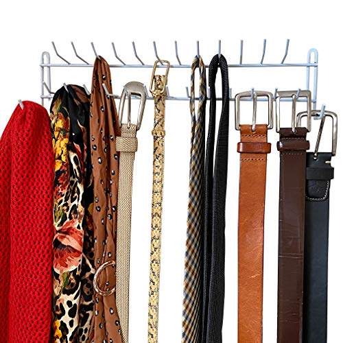 Evelots Tie Rack-BeltScarfNecklace Wall Organizer-27 Hooks-Can Hold 100 Items