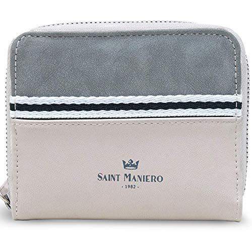 Saint Maniero ® Design Geldbeutel Damen klein für Alltag, Uni und Job – 2 Schein- und 12 Kartenfächer – Münzfach mit Druckknopf – umweltfreundliches (veganes) Material (Beige-Grau)
