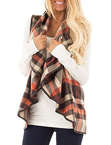 Top womens vest cardigan plaid for 2020