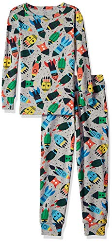 Gymboree Boys' Big 2-Piece Tight Fit Long Sleeve Long Bottoms Pajama Set, Grey/Multi Rockets, 3