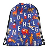 BXBX Plegable Drawstring Backpack Bag Sport Gym Sackpack Cinch Bag for School Yoga Gym Swimming Travel Unisex - Circus Animal Alphabet Red_Orange_Blue