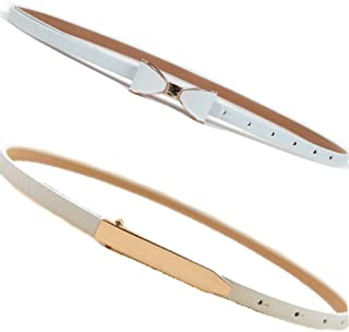 Women's Thin Belt Retro Vintage Stretch Elastic Cinch Chain Waist Belts 2 Pack