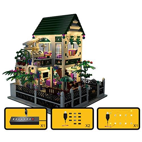 OATop Architektur Villa Bausteine Modell, 1500 Teilen Romantisches Herz-Haus Bausteine mit LED Licht modular Custom Bauspiel Kompatibel mit Lego