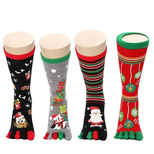Zoylink Calcetines De Navidad Calcetines Del Dedo Del Pie Calcetines Con Estampado De Dibujos Animados Para Hombres Mujeres