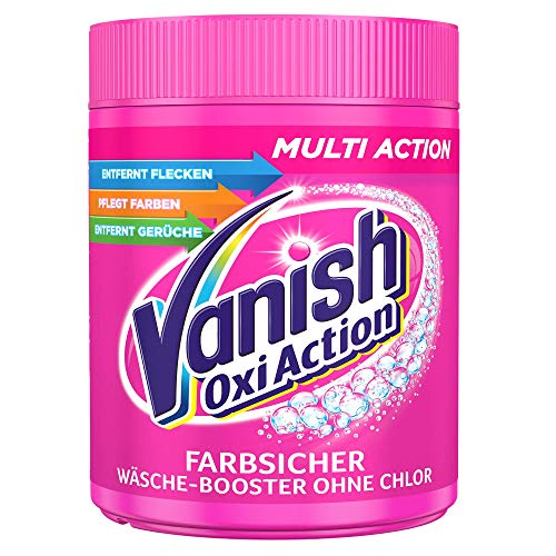Vanish Oxi Action Pulver Pink – Fleckentferner Pulver ohne Chlor – Entfernt Flecken, pflegt Farben & entfernt Gerüche – Für bunte Wäsche – 1 x 1 kg