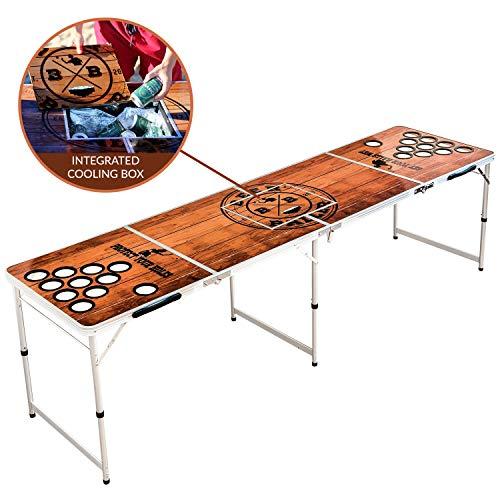 BeerBaller® Beer Pong Tisch Wood 'N' Ice mit Kühlfach & Becherhaltern - Klappbarer Bier Pong Tisch mit praktischem Bällehalter und 6 Bierpong Bällen für Sommer, Festivals, Parties & Turniere
