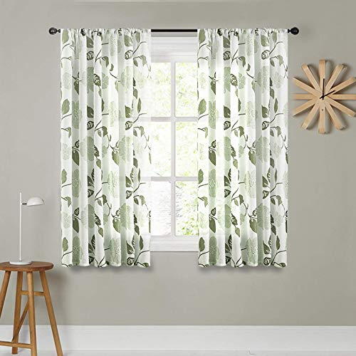 MRTREES Sheer Curtains Linen Blend Textured 45 inches Long Kitchen Sheers Floral Printed Bedroom Curtain Panels Basement Bathroom Olive Flower Leaves Living Room Window Treatment 2 Panels Rod Pocket