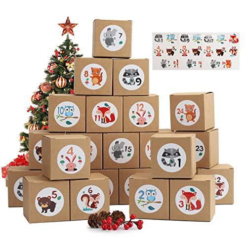 Herefun 24 Cajas de Regalo Navidad, Calendario de Adviento, DIY Bolsa de Regalo Navidad, Calendario Adviento Navidad, Rellenar Calendario de Adviento, Niños (1)