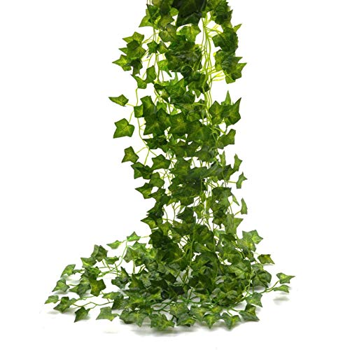Meiliy 12pcs 84ft ivy garland fake ivy leaves artificial ivy Greenery Garland hanging vine plant for Wedding Party Garden Outdoor Office Wall Decoration Poison Ivy Costume