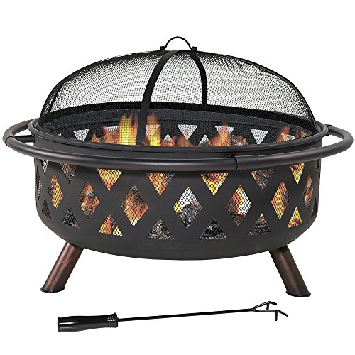 Sunnydaze Crossweave Outdoor Fire Pit - 36 Inch Large Bonfire Wood Burning Patio & Backyard Firepit for Outside with Spark Screen, Poker, and Round Fireplace Cover, Black