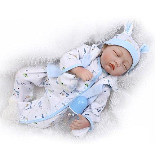 Nicery Reborn Baby Doll Réincarné bébé Poupée Doux Simulation Silicone Vinyle 22 Pouces 55cm Bouche Qui Semble Vivant Garçon Fille Jouet Vif réaliste Âge 3+ White Blue Eyes Close