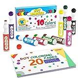 Marcadores de puntos lavables, 10 colores Bingo Daubers con libro de colorear de puntos y 70 hojas de PDF para colorear de patrones, marcadores de puntos a base de agua no tóxicos,Shuttle Art