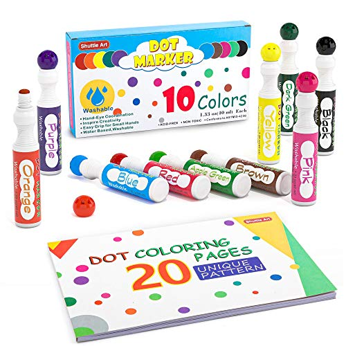 Washable Dot Markers, 10 Colors ...