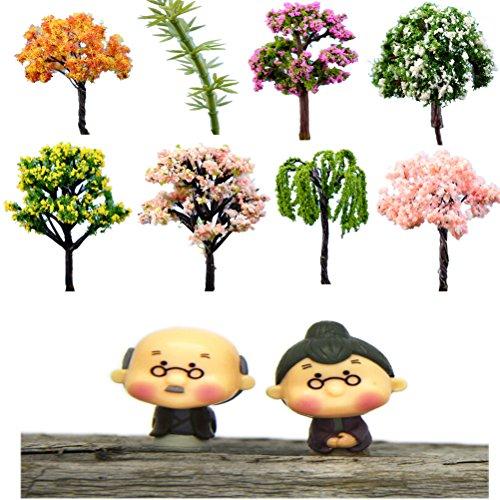 CoscosX Miniature Fantasy Fairy Garden Grandpa&Grandma Tree Ornament Bonsai Doll Dollhouse Plant Pot Figurine DIY Outdoor Desktop Decor Crafts Home Decoration