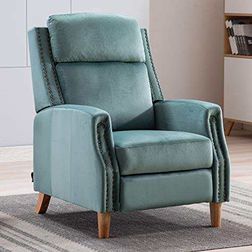 Artechworks Recliner Armchair Push Back Chair Velvet Fabric,Adjustable Position Accent Lounge Sofa Chair with Extended Footrest Wood Legs for Adults,Living Room,Bedroom,Office,Teal Green