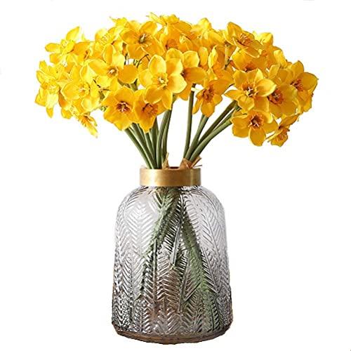 Decpro 12 Flores de narcisos Artificiales, Narciso de Seda Falso Ramos de...