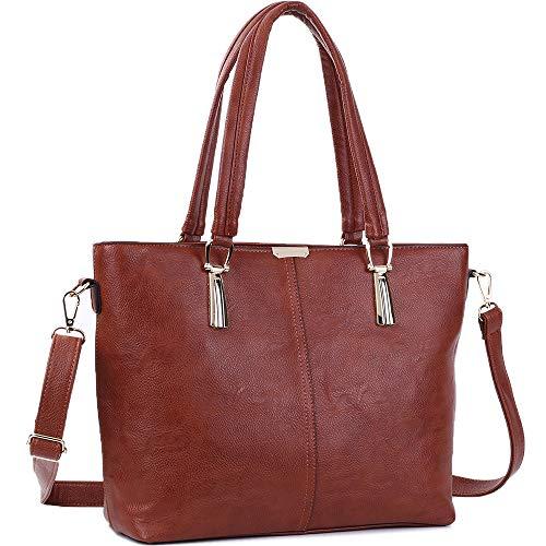 Handbags JOYSON Tote Fashion Shoulder Bags PU Leather Crossbody Purse Red Brown