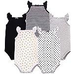 Hudson Baby Unisex Baby Cotton Sleeveless Bodysuits, Basic Black Gold, 9-12 Months