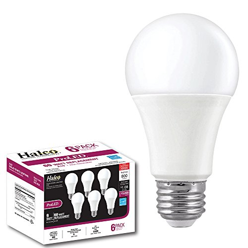ProLED A19FR9/830/ECO/LED/6 Lighting ECO 9W 3000K Non-DIMMABLE Halco A19 Contractor Series 6 Pack K 6 Piece