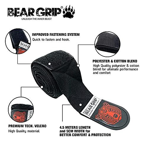 BEAR GRIP - Premium Boxing Hand Wraps - For Combat Sports, Boxing, MMA, Martial Arts, Kick Boxing (Black)