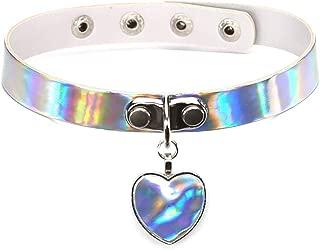 Heart leather Pendant Holographic Laser Choker Necklace Rainbow Punk Collar Rivet Buckle Women Jewelry