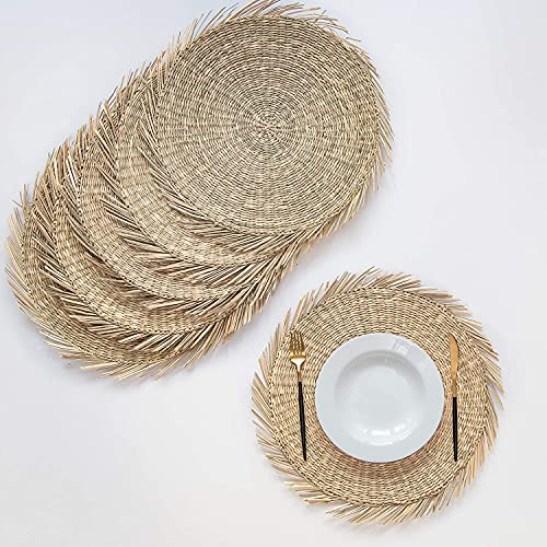 Artera Set of 6 Oversized Round Seagrass Placemat, 15' Round, Woven Table Mats, No-Slip Natural Heat Resistant Mats for Table, Coasters, Pots, Pans & Teapots in Kitchen (Rectangle 3)