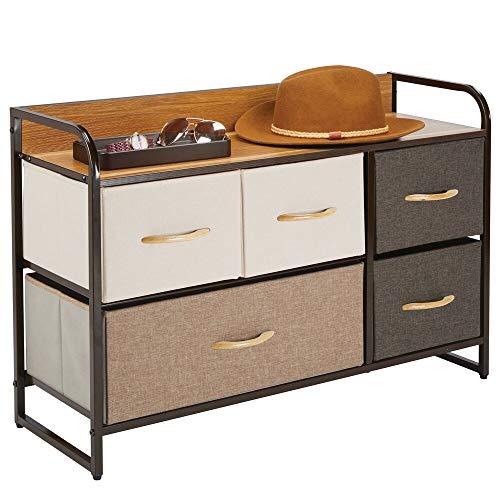 mDesign Cómoda para dormitorio con 5 cajones – Mueble con cajones ancho para el salón, la habitación o el pasillo – Cajonera de metal, MDF y tela para guardar ropa – varios colores y marrón