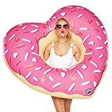 Giant Inflatable Heart / Round Frosted Donut Pool Float Lounger Beach Swimming Ring Lilo (Heart Donut)